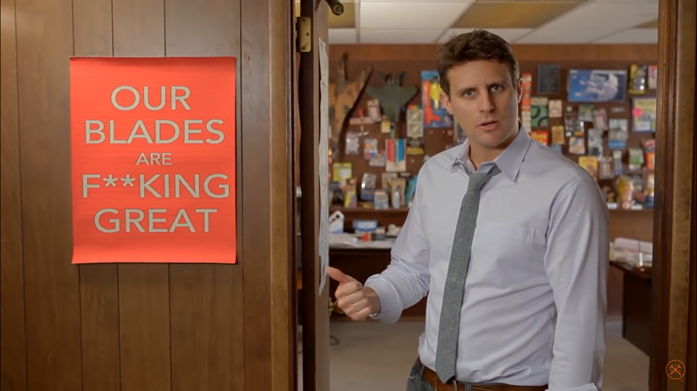 "Dollar Shave Club, catch-phrase: ""Our blades are f**king great"""